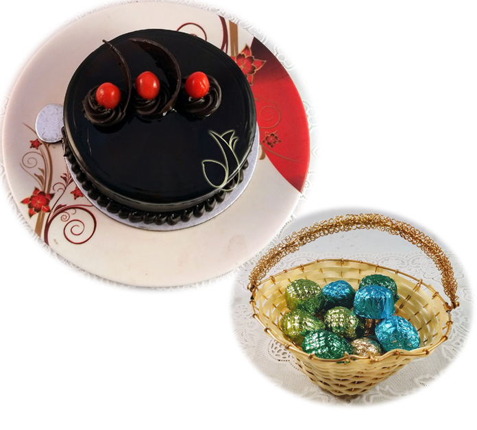 Dark Chocolate Cake & Chocolates in Small Basket