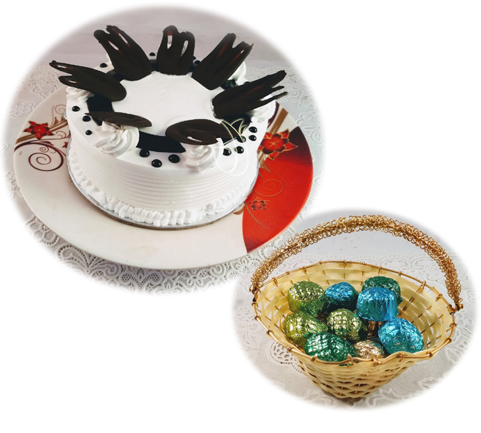 Vanilla Cake & Hand Made Chocolate In Cane Basket  (Only For Delhi)