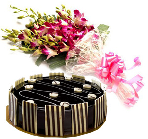 Flowers Delivery in IndoreSpecial Truffle Cake & Orchid Bunch