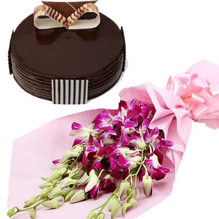 Orchids Bunch & Chocolate Truffle Cake