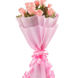 Flowers Delivery in MeerutPink Roses in Paper Packing