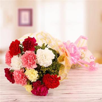 Flowers Delivery in Faridabad12 Mix Carnation Bunch.