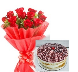 Red Roses & Butther Scotch Cake