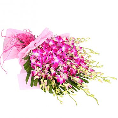 Flowers Delivery in MeerutBunch of 15 Orchids in Paper Packing