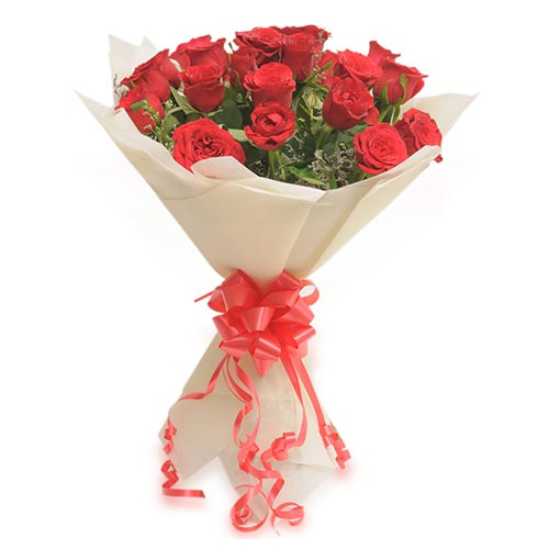 Flowers Delivery in MeerutBunch of 20 Red Roses in Paper Packing