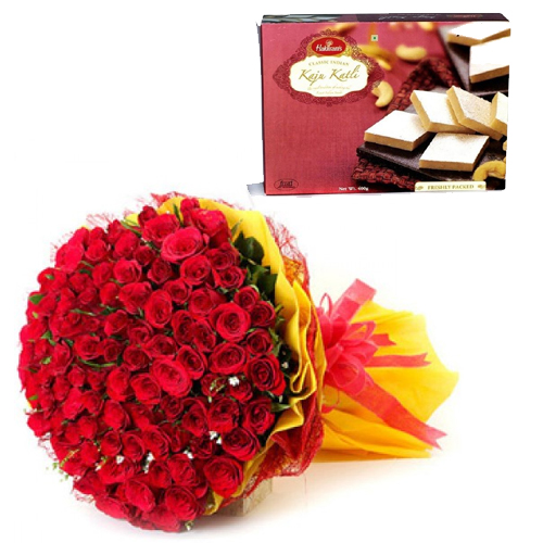 Flowers Delivery in ShimlaRoses Bunch & Kaju Burfi