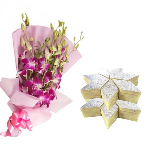 Bunch of Orchid & 1/2Kg Kaju Burfi