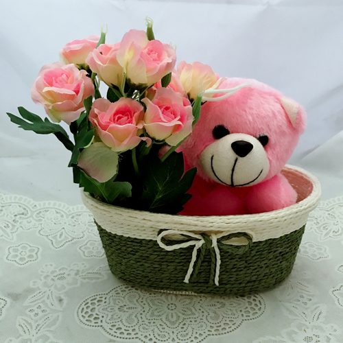 Artificial Roses &Teddy in Basket (Only For Delhi)