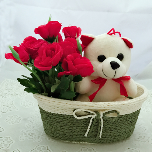 Artificial Red Roses &Teddy (Only For Delhi)