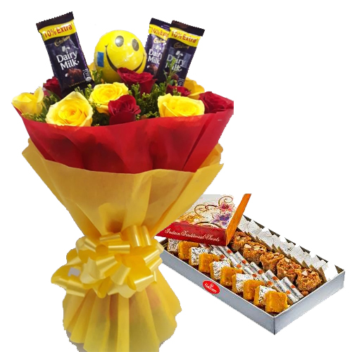 Roses & Chocolate Bunch & 1kg Assorted Sweet