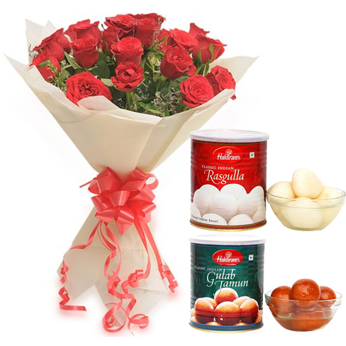 Flowers Delivery in BhilaiBunch of Roses & Rasgulla & Gulab Jamun