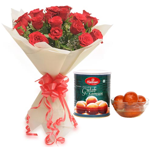 Flowers Delivery in BhilaiRoses Bunch & 1Kg Gulab Jamun Pack