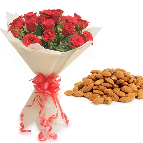 Roses Bunch & 1/2Kg Almond Dry Fruit