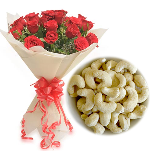 Flowers Delivery in BhilaiRoses Bunch & 1/2Kg Kaju Dry Fruit