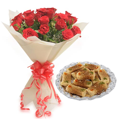 Flowers Delivery in BhilaiRoses Bunch & 500Gm Milk Cake Sweet
