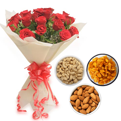 Flowers Delivery in BhilaiRoses Bunch & 750Gm Mix Dry Fruits