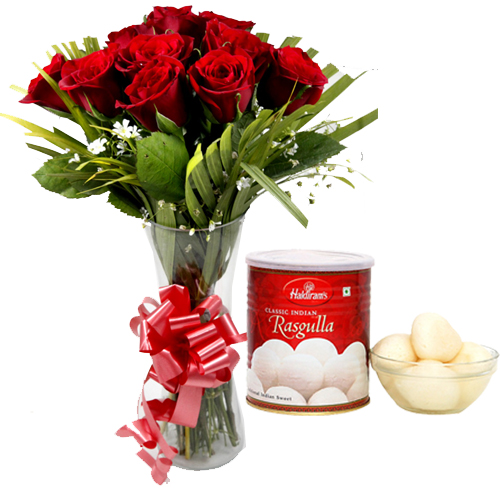 Flowers Delivery in BhilaiRoses in Vase & 1Kg Rasgulla Pack