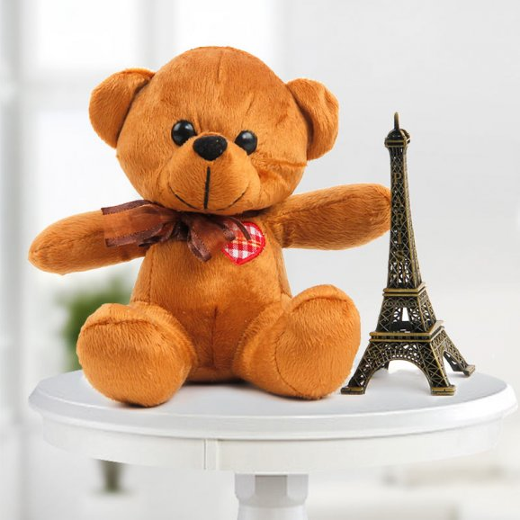 6 Inch Cute Teddy & 5 Inch Eiffel Tower Combo (Only For Delhi)