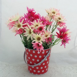 Pink & White Daisy in a Metal Bucket (Only For Delhi)