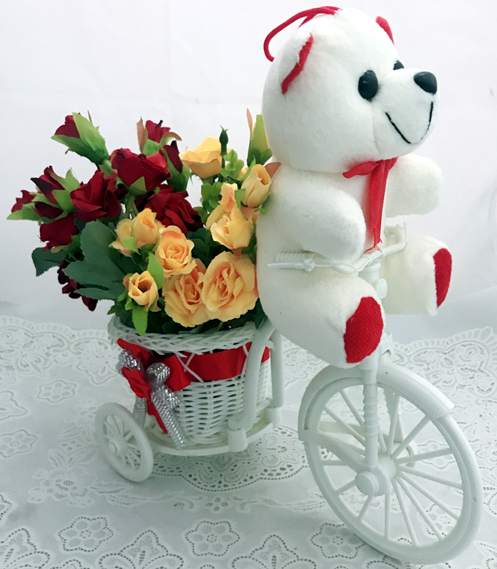 30 Red & Yellow Rose with Teddy in Rikhsa (Only For Delhi)