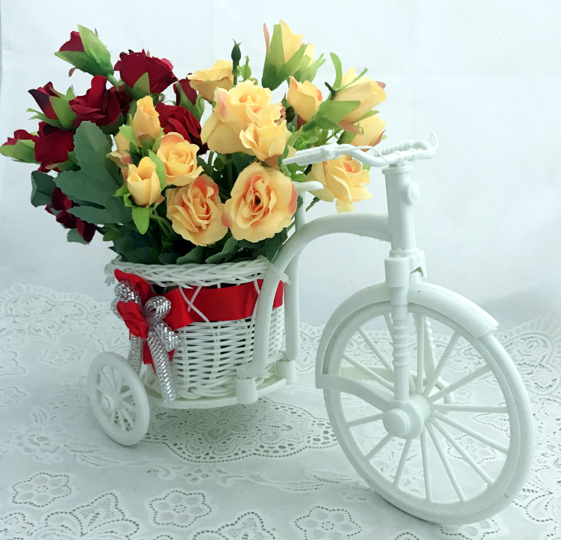 Red & Yellow 30 Mini Rose in Riksha (Only For Delhi)