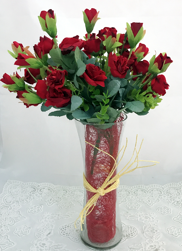 30 Artificial Mini Red Rose in Vase (Only For Delhi)
