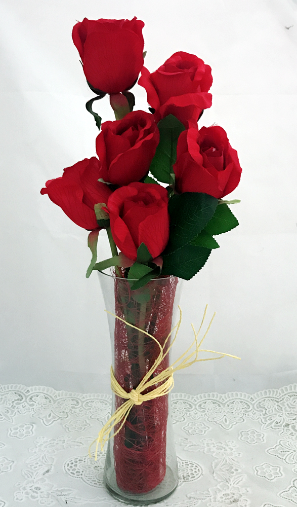 6 Artificial Red Silk Big Roses in a Glass Vase (Only For Delhi)