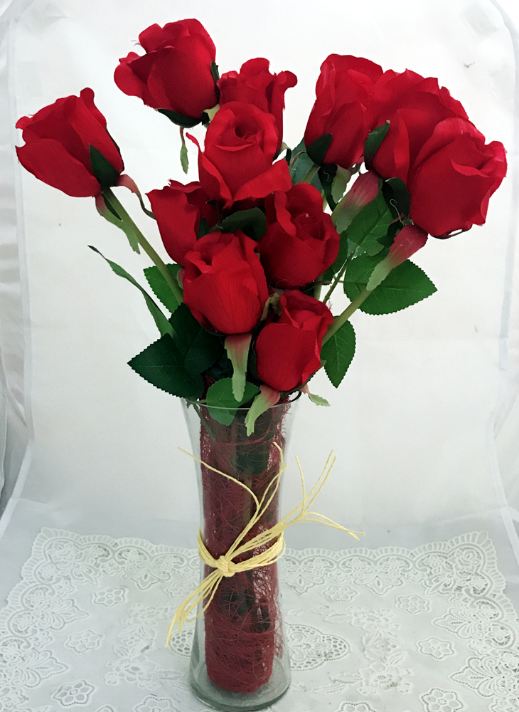 12 Artificial Red Silk Big Roses in a Glass Vase (Only For Delhi)