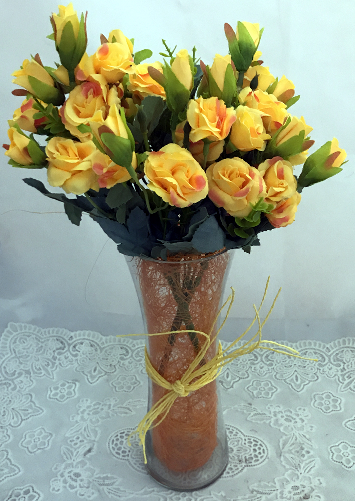30 Yellow Mini Roses Buds in a Glass Vase  (Only For Delhi)