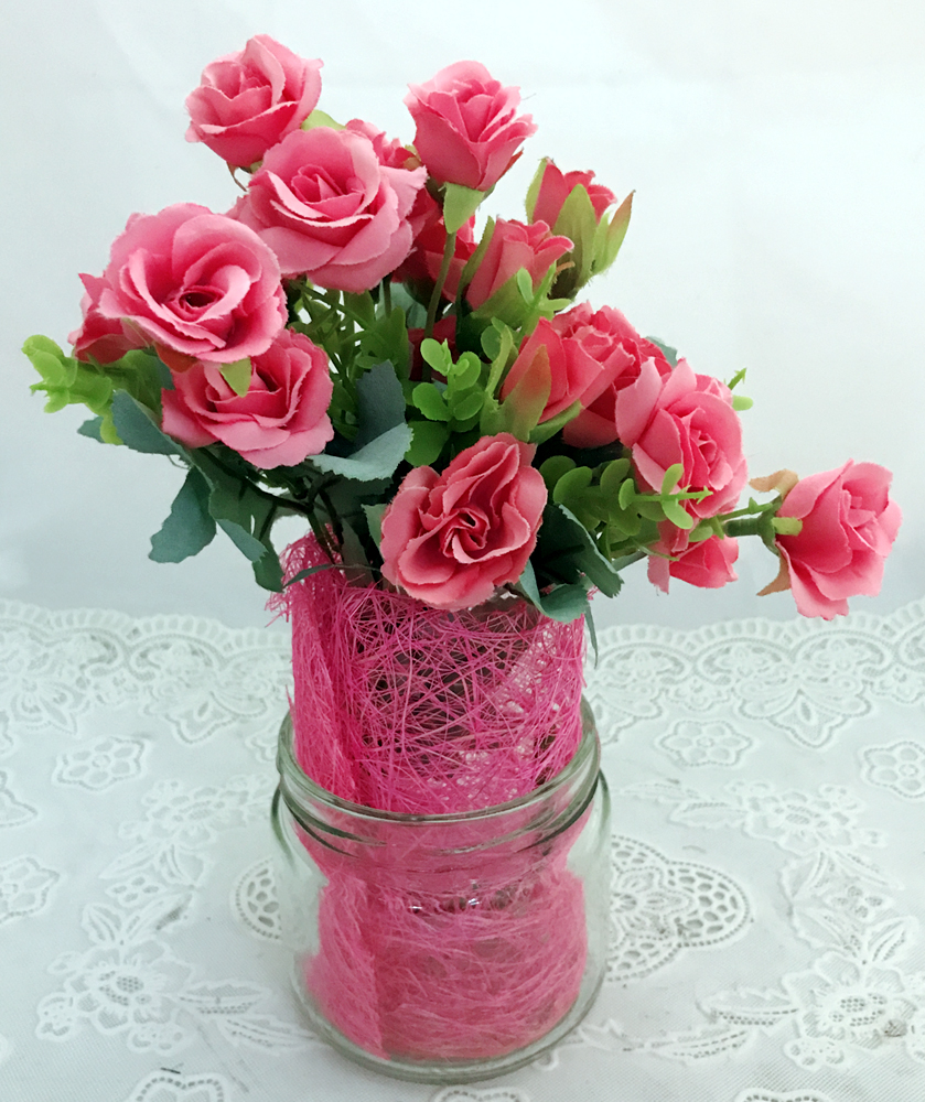 15 Pink Mini Roses Buds in a Glass Pot   (Only For Delhi)