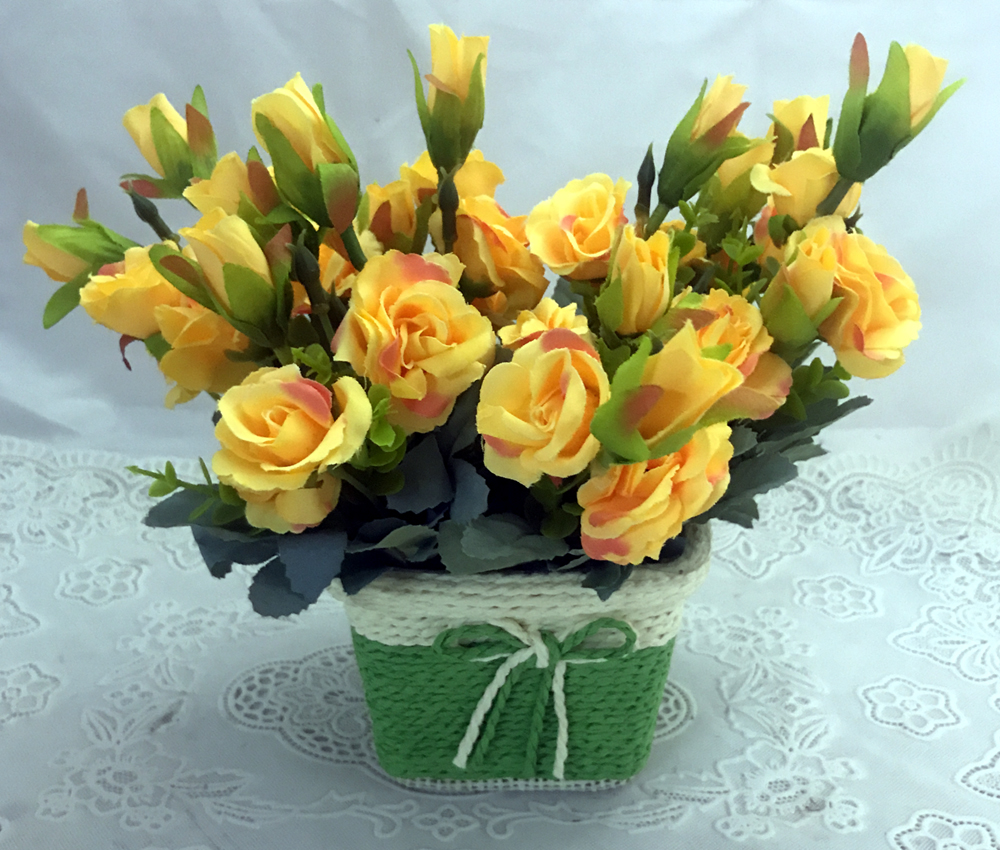 Cute & Small Yellow Mini Roses Buds in a Unbreakable Pot  (Only For Delhi)