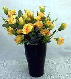 Yellow Mini Roses in a Black Plastic Vase  (Only For Delhi)