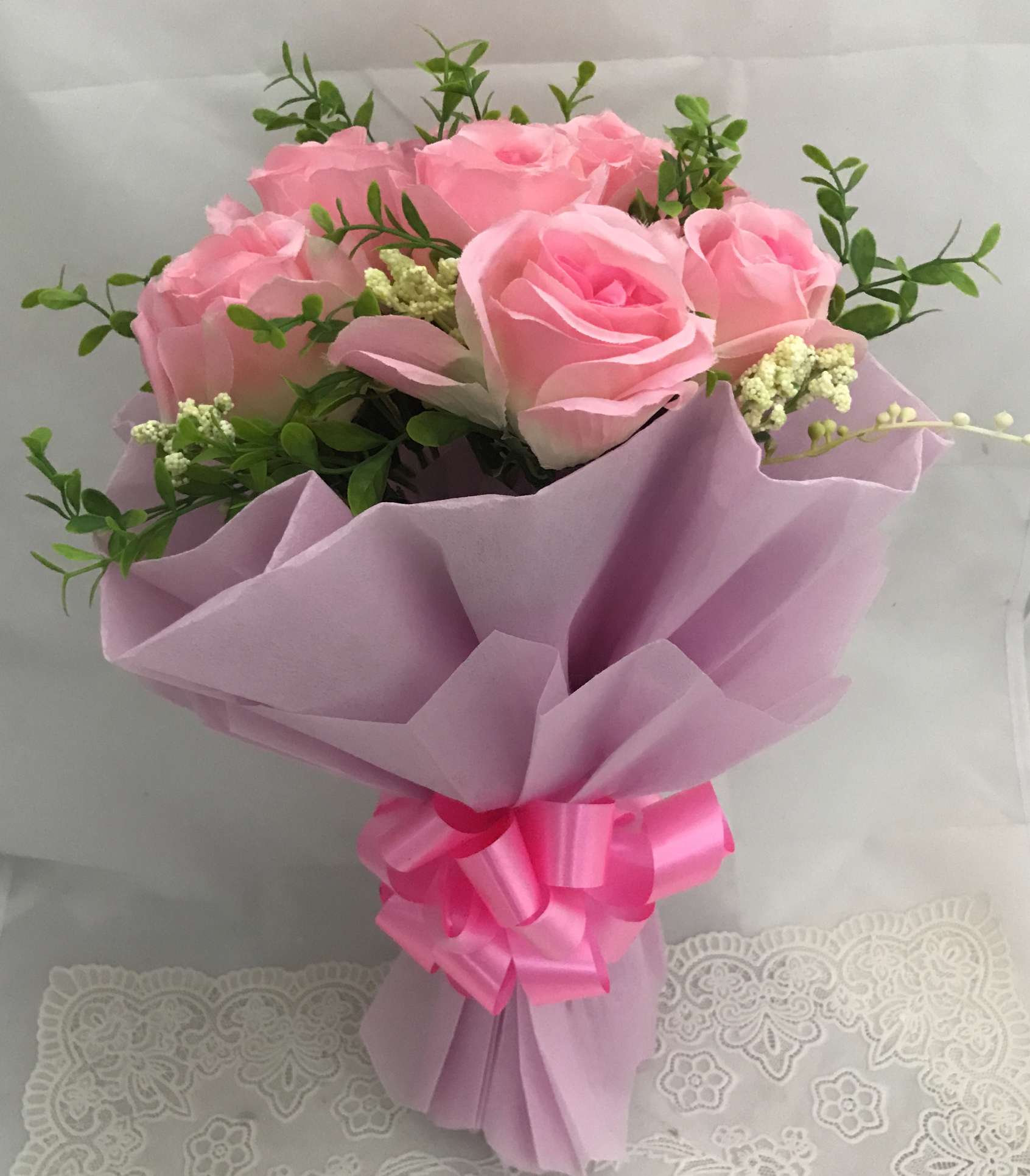 Artificial 8 Pink Roses Hand Bouquet