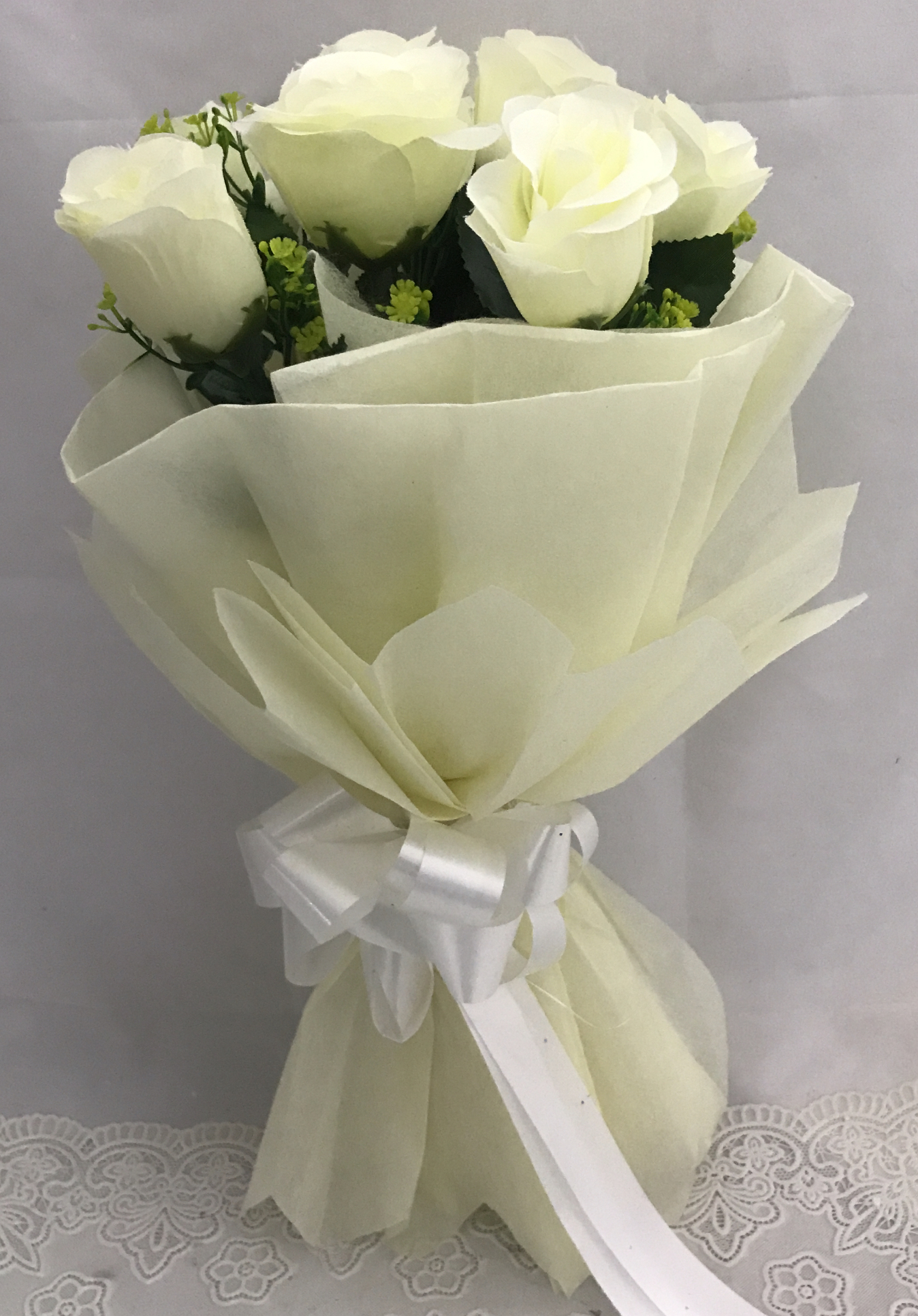 Artificial 8 White Roses Hand Bouquet