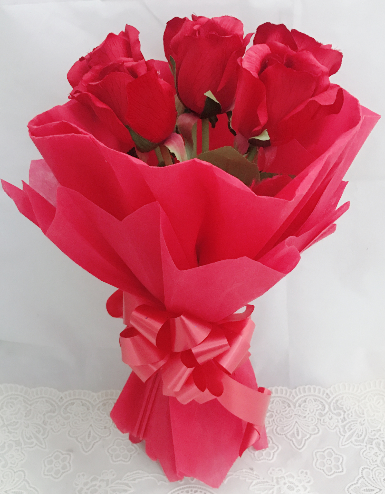 Artificial 6 Red Roses Hand Bouquet