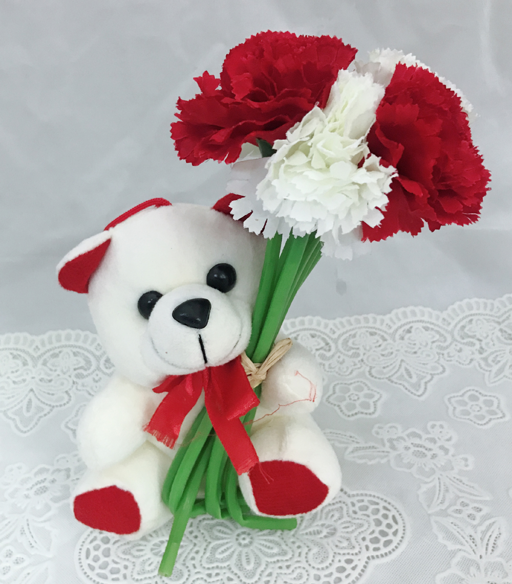 6 Inch Teddy with Artificial 6 Red & White Carnations (Only For Delhi)