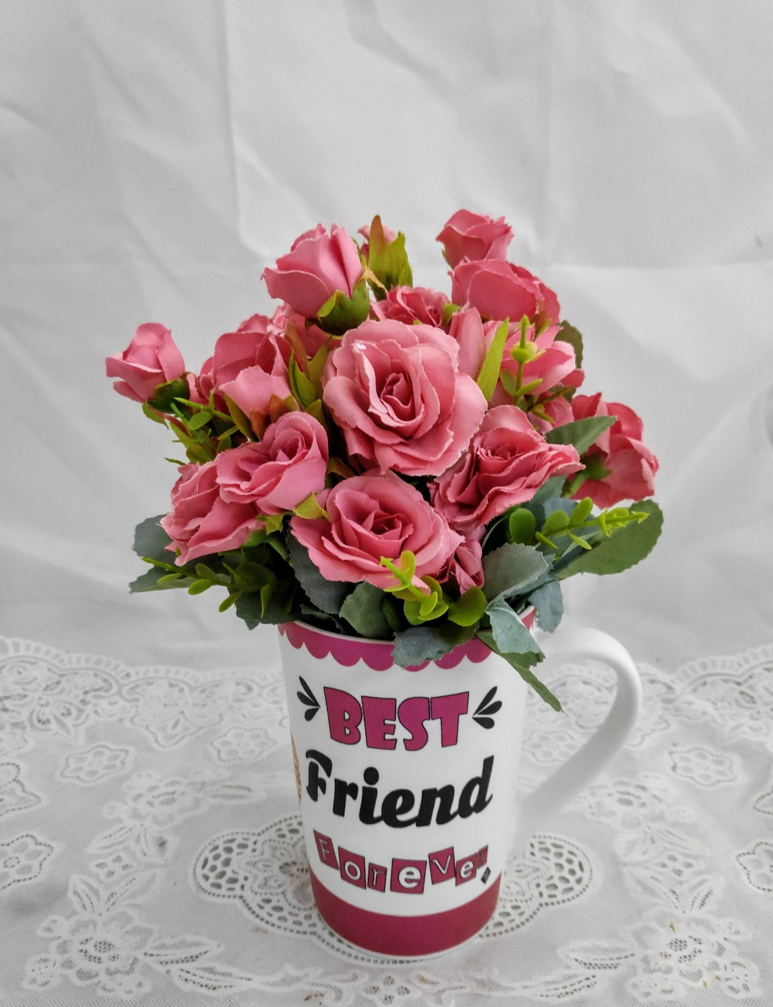 Artificial Pink Roses in Coffee Mug (Only For Delhi)