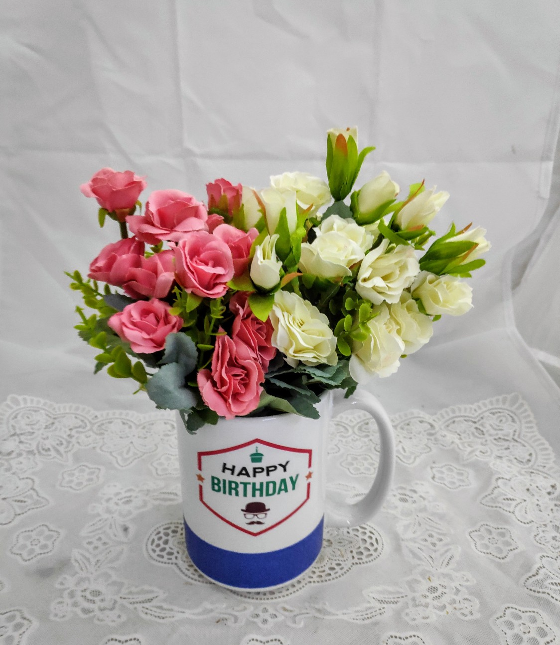 30 White and Pink Mini Roses in Coffee Mug Bouquet (Only For Delhi)
