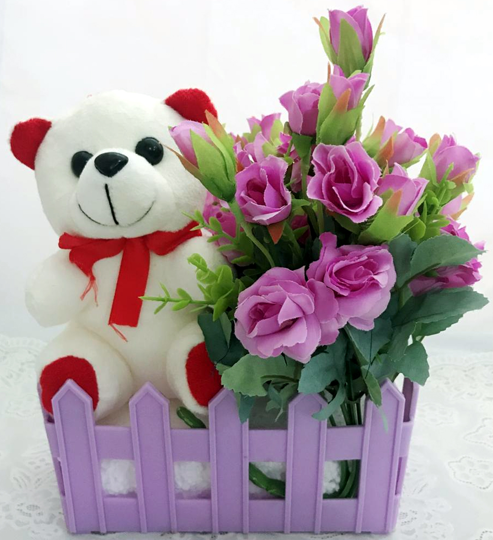 6 Inch Cute Teddy with 20 Purple Mini Roses Bouquet Small