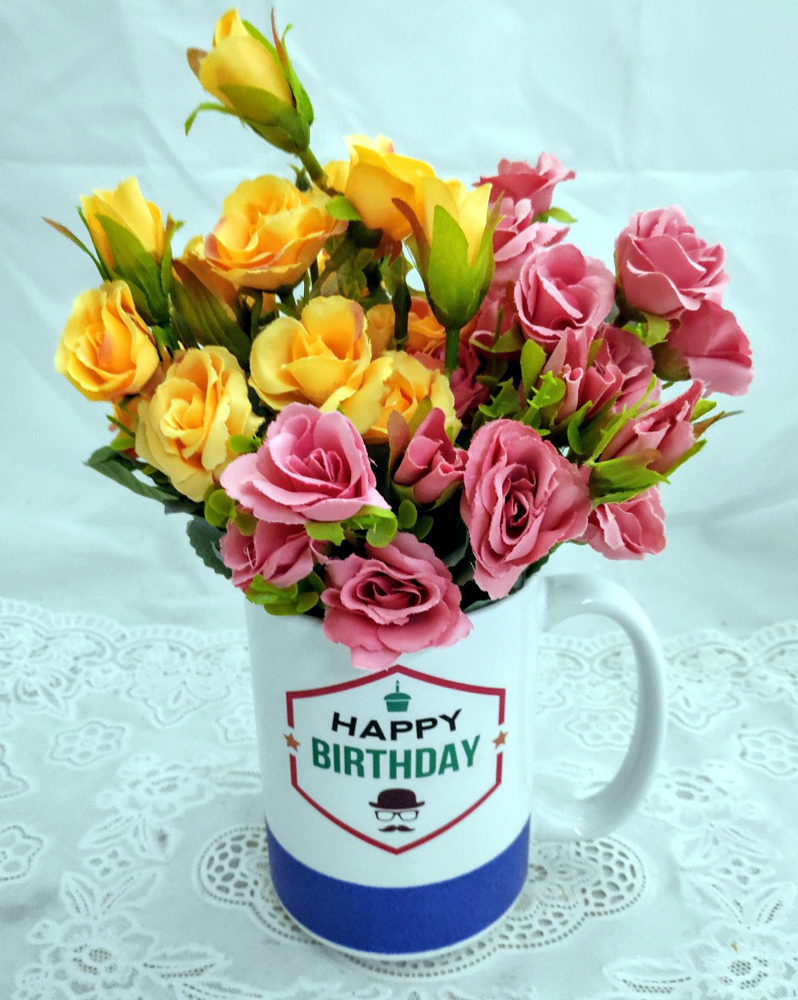 30 Yellow & Pink Mini Roses in Birthday Coffee Mug Bouquet (Only For Delhi)