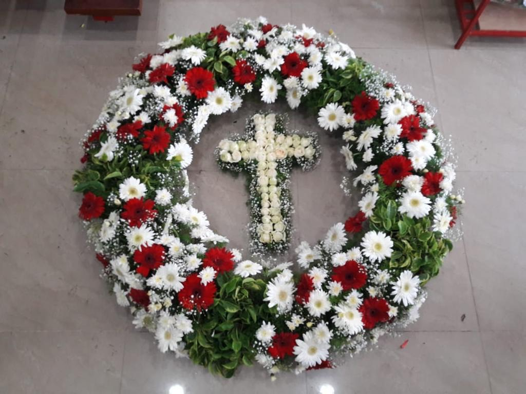 Red & White Mix Flowers Wreath with Cross