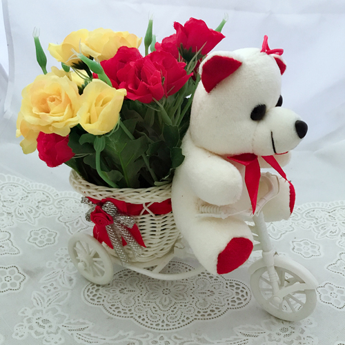 20 Artificial Roses &Teddy in Basket (Only For Delhi)