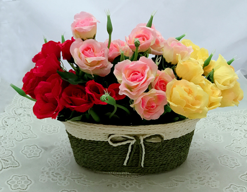 Artificial 30 Mini Roses in Basket (Only For Delhi)