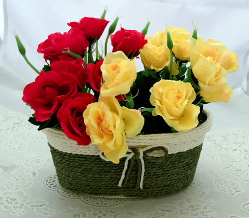 Artificial 20 Mix Roses in Basket (Only For Delhi)