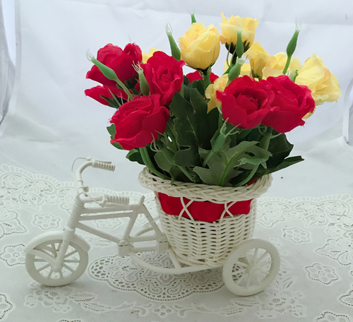 Artificial 20 Mix Roses in Riksha (Only For Delhi)