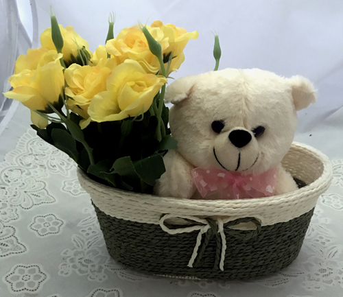 Artificial 10 Yellow Roses & Teddy (Only For Delhi)