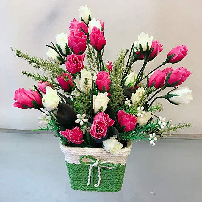 Pink & White Mini Roses Buds Arrangement in a Rafia Basket (Only For Delhi)