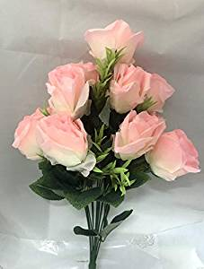 12 Pink Artificial Roses Bunch  (Only For Delhi)