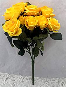 9 Yellow Artificial Big Roses Bunch (Only For Delhi)