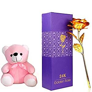 One Golden Rose with A 6 Inch Cute Pink Teddy Bear (Only For Delhi)